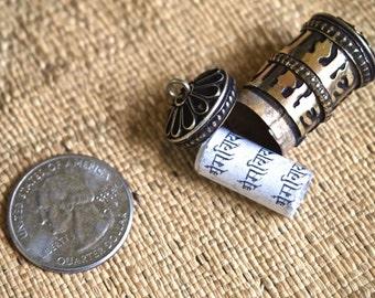 Miniature Opening Brass Prayer Wheel Pendant or Charm