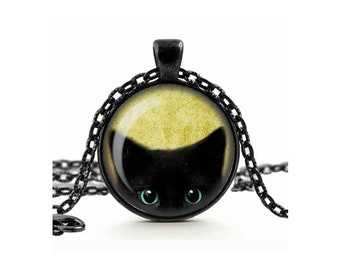 Süße freche schwarze Katze späht Anhänger Halskette Glas Cameo Cabochon Fliesen Halskette Schmuck