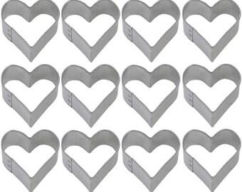 1 Dozen Mini Heart 1.5'' Cookie Cutters Wedding Favors