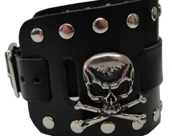 Skull and Cross Bones Concho Handmade Black Buckle Wide Genuine Leather Watchband Military Biker Rocker U.S.A. NYC Cuff Wristband Bracelet