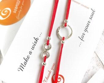 Red Bracelets Two Red Lucky Bracelets Tiny Duo Red Bracelets String Bracelets Circle of Life Make a Wish Bracelets Circle Bracelets