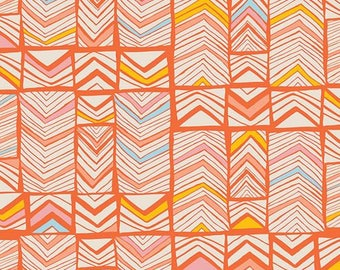Geos Bright Mandarin from Art Gallery Fabric's Meadow Collection