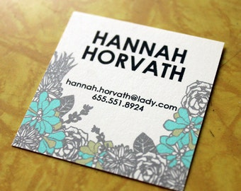 Succulent Calling Cards- 2 inch square-set of 50