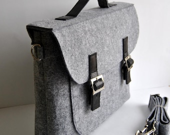 ON SALE  !! Felt leather laptop bag briefcase 13 MacBook Pro laptop, urban felt bag, Common Laptop Leather Felt laptop bag briefcase