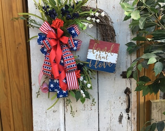 Patriotic wreath, 4th of July wreath, red white and blue wreath, Americana wreath, Front door wreath