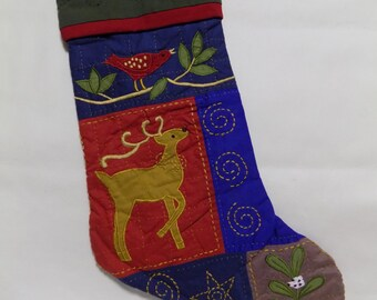 """Christmas Stocking Blue Patchwork Hanging Ornament Brown Stag Deer w Antlers Red Bird Tree Branch Embroidered Gold Star Green Cuff 17"""" x 12"""""""