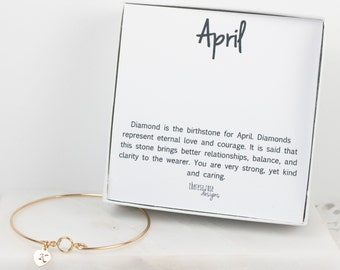 Personalized April Birthstone Gold Bangle Bracelet, Personalized Crystal Gold Bracelet, Crystal Bangle, April Birthstone Bracelet