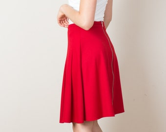 One Of A Kind, High Waist Skirt, Back Zipper, Red Skirt, Flared Skirt, A Line Skirt, Work Skirt, Fall Skirt, Summer Skirt, Pleated, Elegant