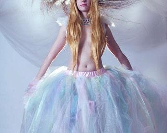 Unicorn Fairytale wedding tulle tutu skirt Streamer formal offbeat Bridal princess dance prom carnival fantasy -All Sizes- SOTMD