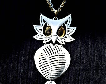 Vintage White and Gold Owl Designer Jewelry Fashion Jewelry Owl Jewelry