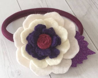 Felt flower headband , felt flowers , felt headband , baby headband , nylon headband , purple headband , felt hair band, felt accessories