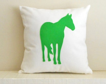 Horse Pillow Cover, Decorative Throw Pillow, Gift for Horse Lovers, Equestrian Decor, Horse Silhouette, Horse Riding, Horses