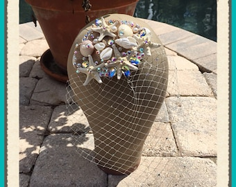 Swarovski Crystal Burlap Flower Shell Starfish Beach Wedding Bridal Hairpiece with Veil