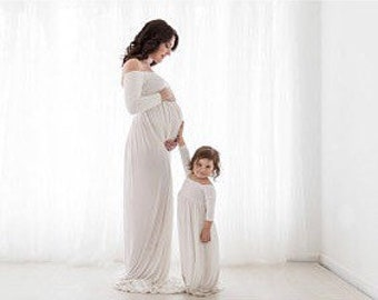 Mommy and Me/girl gown/girl dress/off the shoulder/same like mommy/girl clothes/jersey/soft and stretch/girl dress for photo shoot/