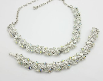 Necklace and  Bracelet  Silver tone  with Carnival Rhinestones 2 pieces
