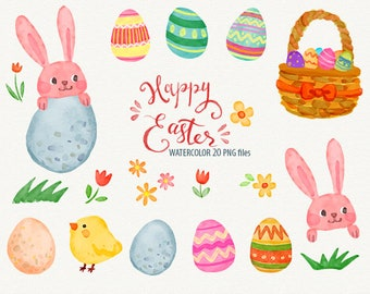 Happy Easter watercolor clipart rabbit clip art, bunny Easter Egg Clipart