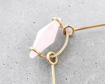Rose Quartz Arch Suspension Choker / modern abstract architectural gemstone statement necklace / 14k gold vermeil