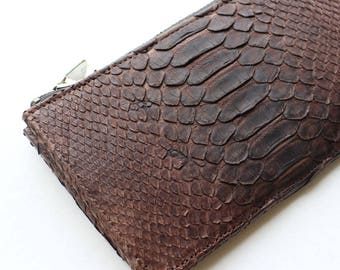 SALE - Brown Snake Leather Wallet / Coin Case / Card Case