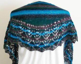 Hand Knit Lace Shawlette, Knit Shawl, Green Knit Scarf, Blue Fashion Shawl, Neck Scarf, Wool Lace Shawl Scarf, Fashion Accessory, Hand Knit