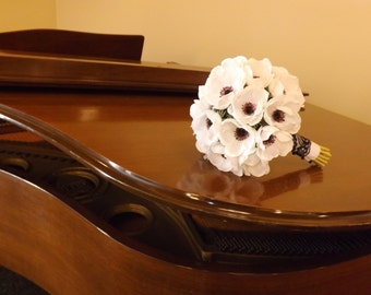 SALE! Ready to ship, gorgeous real touch white anemones with black centers, black and white lace, bouquet and boutonniere