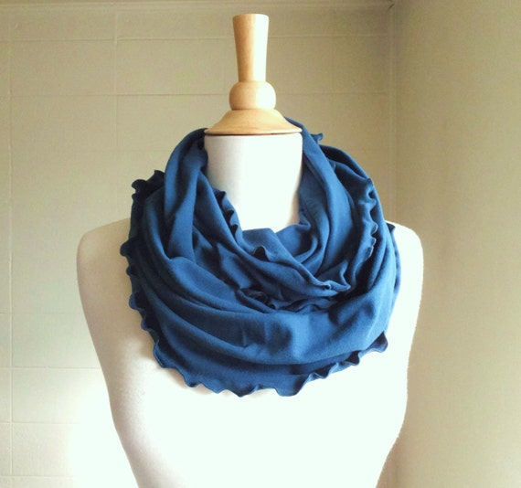 Teal Blue Infinity Scarf turquoise stretch cotton jersey circle cowl neck ruffle fashion accessory winter Ready to Ship