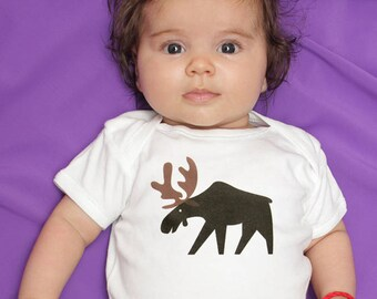 Moose Baby Clothes Bodysuit Romper for Baby Boy or Girl, Long or Short Sleeve, 3, 6, 9, 12, 18 Months, Moose Baby Shower Gift