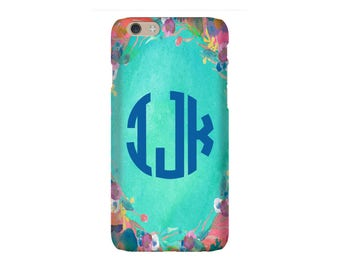 iPhone 8 Case - Personalized iPhone 8, iPhone 7, iPhone 6 Tin Tree Gifts Foral Desgin Monogram
