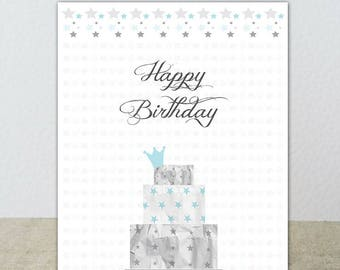 Birthday card in pastel tones with a beautiful cake! Pink or blue
