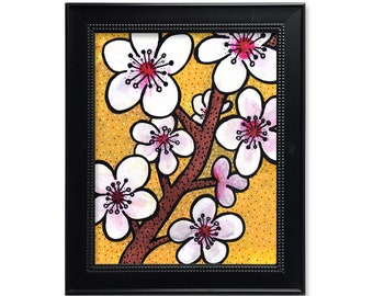 Cherry Blossoms Wall Art Print - Floral Art for Bathroom, Office, Living Room, or Nursery Decor - Flower Giclee - White, Pink, and Yellow