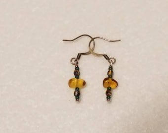 Amber and Green earrings