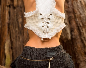Tarazan Skirt (Black) - Festival Clothing Sexy Fairy Hippie Boho Goa Pixie Gypsy Bohemian Skirt with Pocket Crochet with Belt