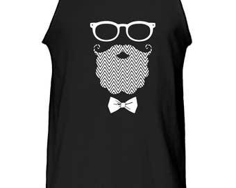 Mustache Beard Face Tank Top