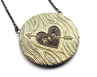 Personalized Couple Necklace, Faux Bois Custom Initial Necklace. Woodgrain Pendant, Anniversary Gift, Heart and Arrow Necklace, Wife Gift
