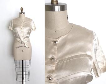 vintage 1930s top | 30s liquid silk satin blouse