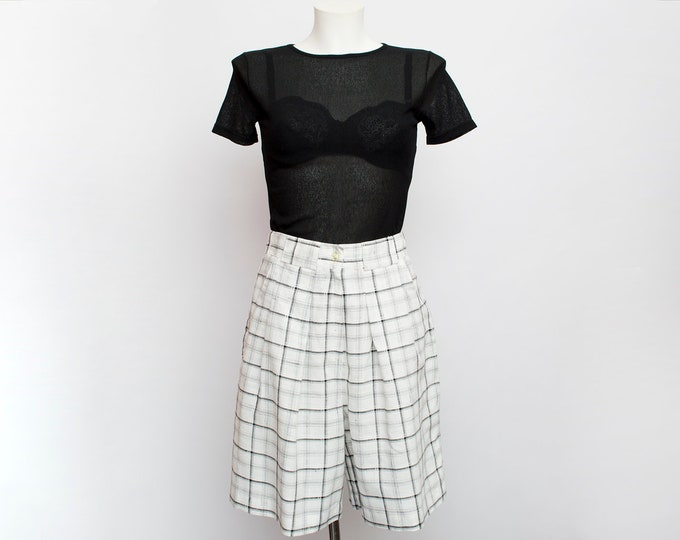Shorts Vintage bermuda white black plaid