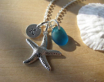 Teal Blue Sea Glass Necklace Personalized Stamped Initial Starfish Jewelry Teal Green Beach Glass Bridesmaids Gifts Beach Wedding