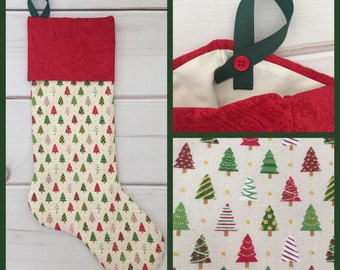 Sparkly Christmas Stocking, hint of burlap, Christmas tree and gold