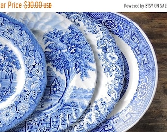 ON SALE Mismatched Blue and White Bread and Butter Plates Set of 4 Plates for Weddings Bridal Luncheon, Replacement China