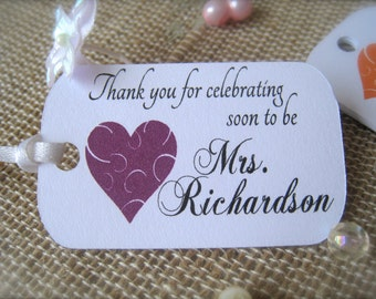 Bridal shower favor tags, favor tags, thank you tags, bachelorette party tags, hang tags, bridal shower decor, mini tags - 30 count(tg24)