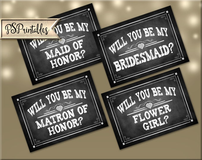 Will you be my Bridesmaid Cards | PRINTABLE Wedding Party cards, Set of 4 Bridesmaid Proposal Cards, Maid of Honor Card, Flower Girl Card