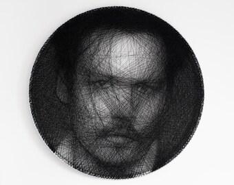 Portrait, Personal portrait, Gift, Portrait of thread, Personalized gift, Custom portrait, Home decor, Wheel, String Art, Johnny Depp