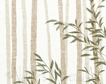 11 x 14 Tan and Brown Wall Decor for Home, Green Bamboo Art Print, Neutral Colors, Nature Wall Art Print (216)
