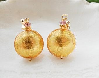 Gold Murano Glass  Earrings