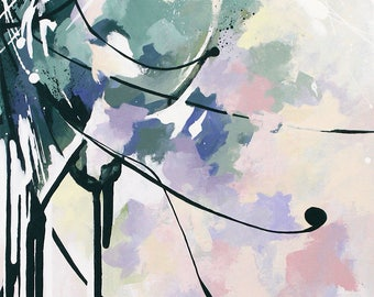 Peinture abstraite à l'acrylique, Fleur abstraite, Tableau contemporain abstrait unique, oeuvre d'art originale