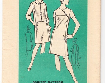 Vintage 1966 Prominent Designer M474 UNCUT Sewing Pattern Misses' Half Size Dress and Jacket Size 10-1/2 Bust 33