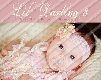 "Etsy Shop Banner Set - Graphic Banners - Branding Set - ""Lil Darling 8"""