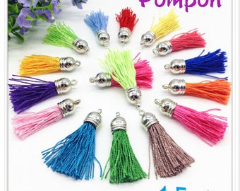 Silk thread tassel pendant individually Ecru silver 4.5 cm