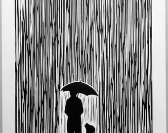 Standing In The Rain - Linocut Print, Signed Artist Proof