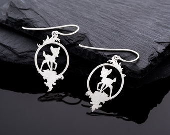 Sweet, hand-sawn fawn twins//Silver earrings//Valentine's Day gift//Fawn earring//Special earrings//gift for you
