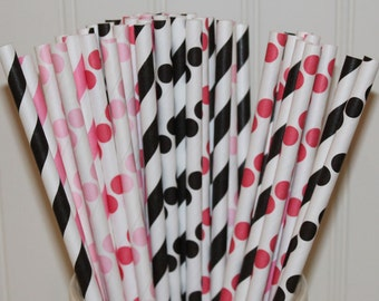 Paper Straws, Minnie Mouse Party, 30 Red, Pink and Black Paper Straws, Pink Paper Straws, Minnie Birthday Party, Minnie's Bowtique, Straws